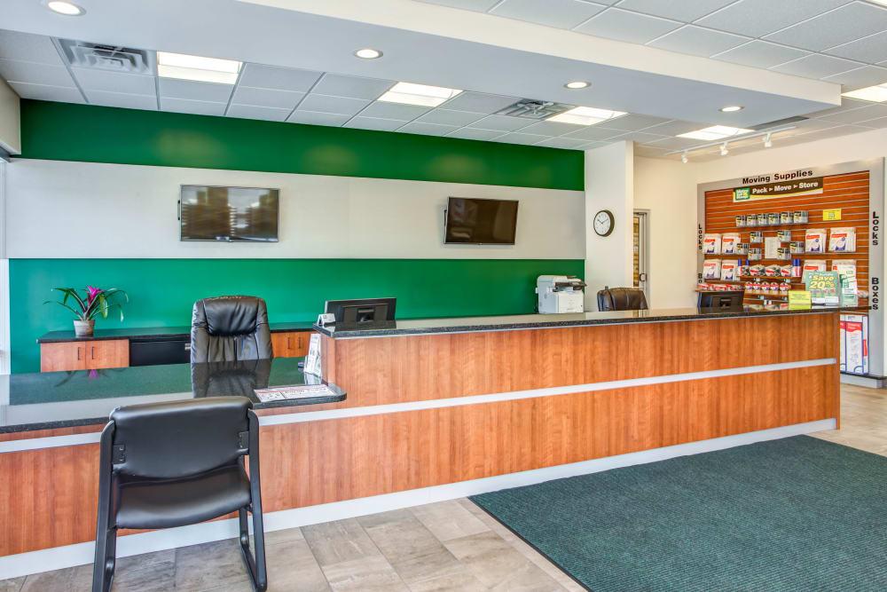 Leasing office reception at Metro Self Storage in Skokie, Illinois