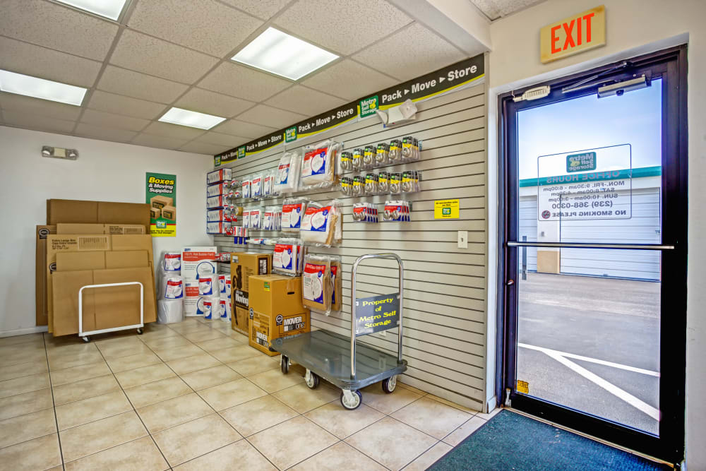 Packaging supplies at Metro Self Storage in Lehigh Acres, Florida