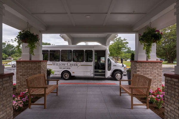 The community bus at Willow Creek Gracious Retirement Living in Chesapeake, Virginia
