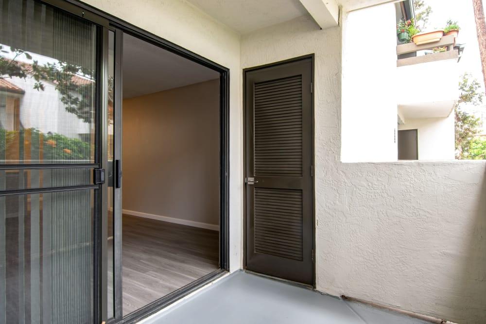 Private patio at Avana La Jolla Apartments in San Diego, CA