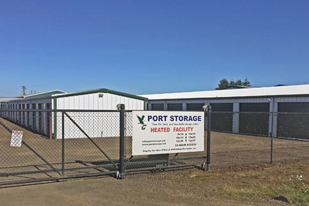 The gate around units at Port Storage in Tillamook, Oregon