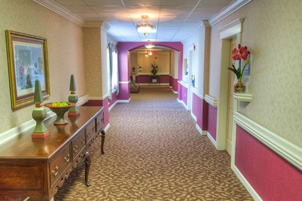 Hallway in senior living apartments at Mansion at Waterford Assisted Living in Oklahoma City, Oklahoma