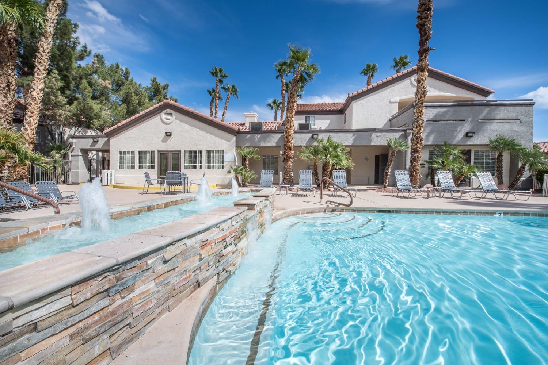 Sunny swimming pool at 3055 Las Vegas in Las Vegas, Nevada