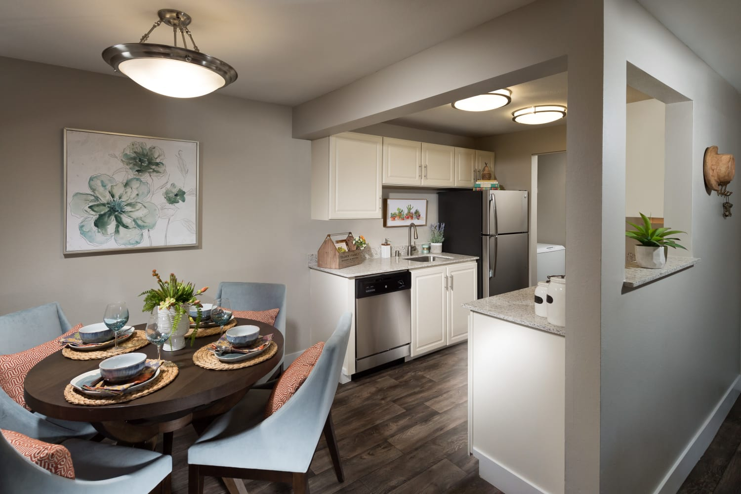 Dining room at Campbell Run Apartments in Woodinville, Washington