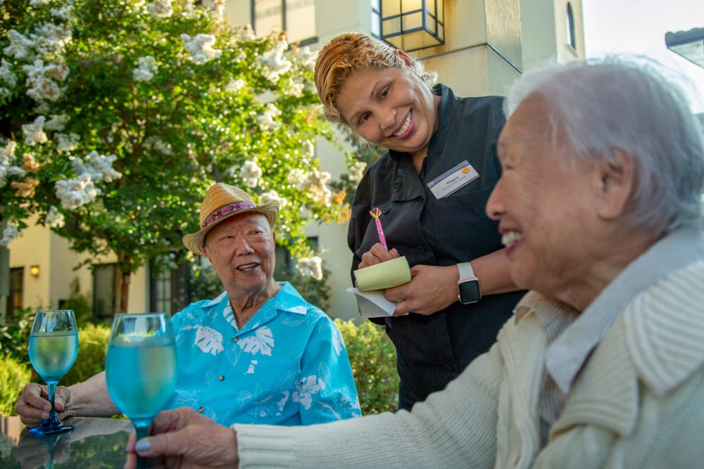 Residents enjoying Anytime Dining at Merrill Gardens at West Covina