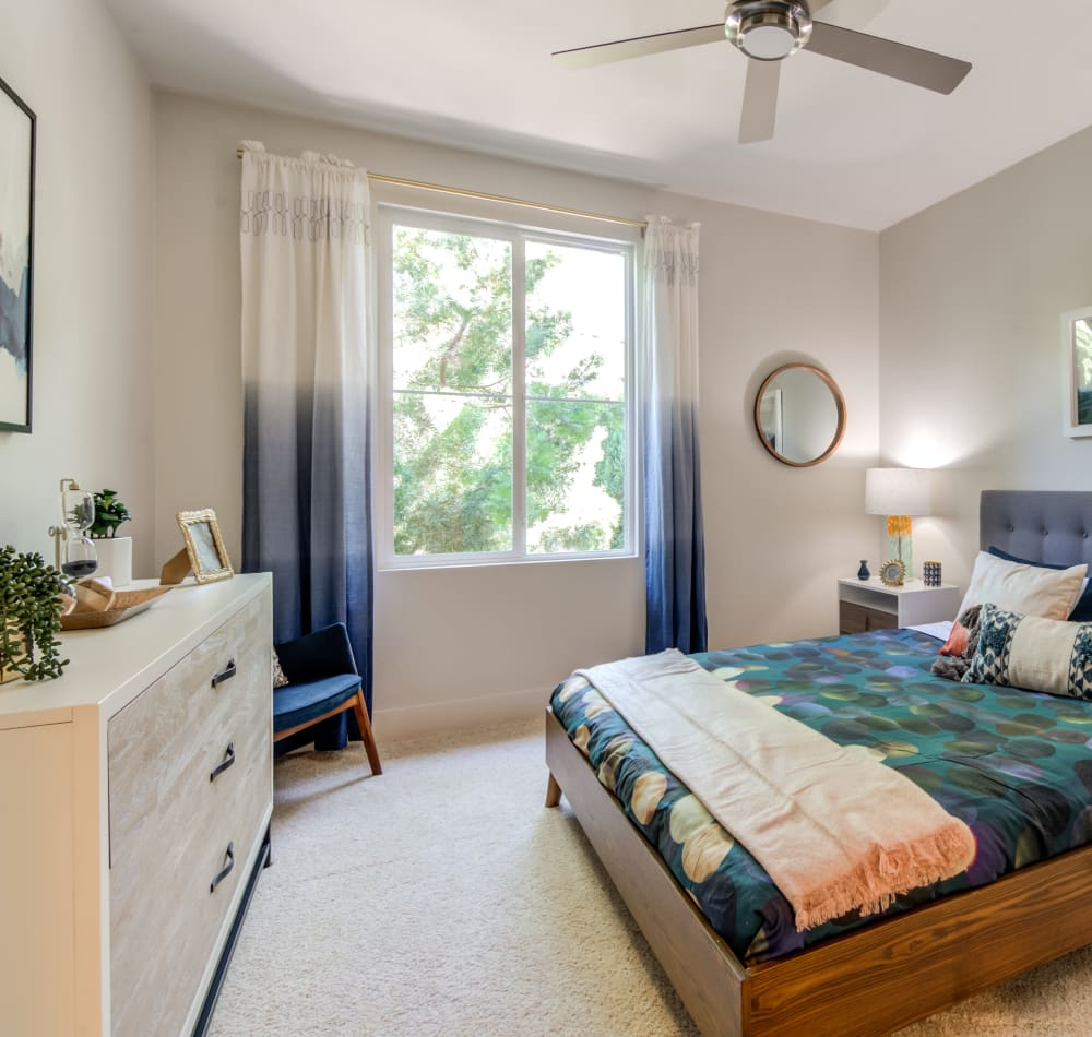 Bedroom with plush carpeting and a ceiling fan at Sofi Shadowridge in Vista, California