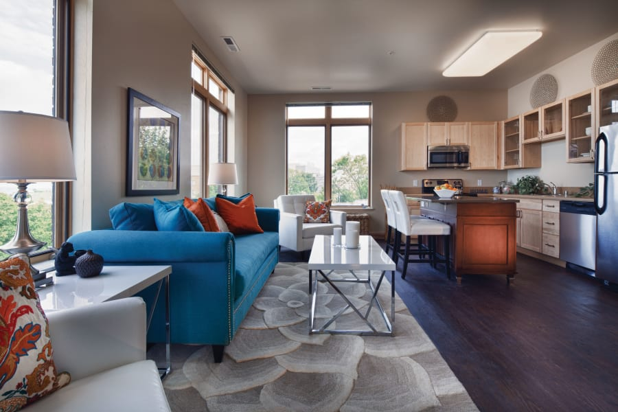 Living room layout at Keystone Apartments in Madison, Wisconsin
