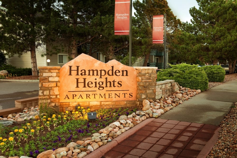 Community Sign at Hampden Heights Apartments in Denver, Colorado