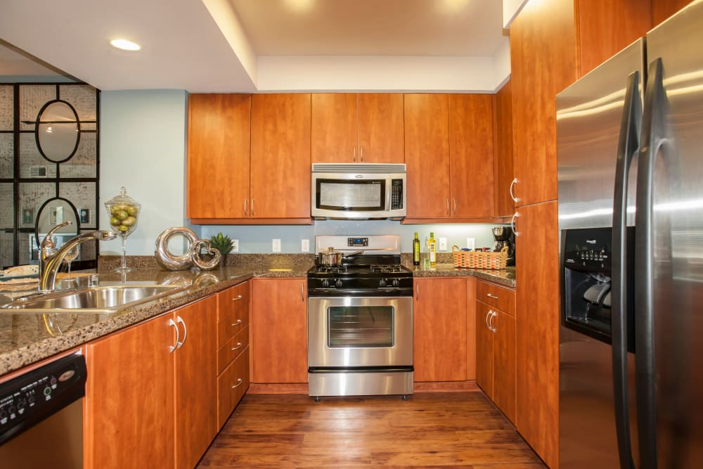 Modern kitchen with ample cabinetry at Azure Apartment Homes in Petaluma, California