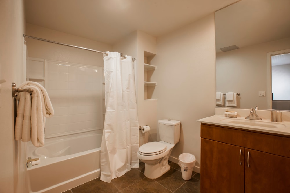 Model bathroom at Azure Apartment Homes in Petaluma, California