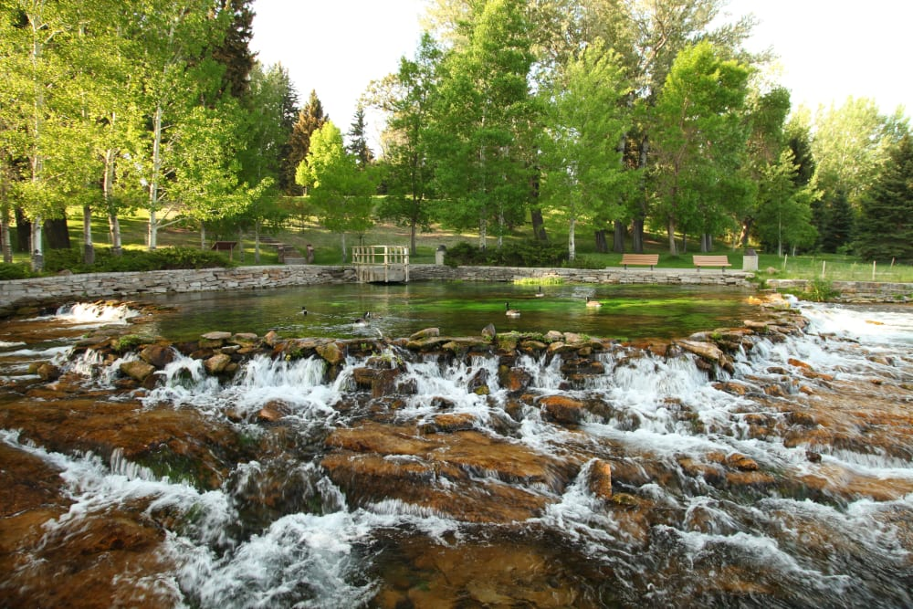 A serene creek with flowing water and rocks near at The Iris Senior Living in Great Falls, Montana