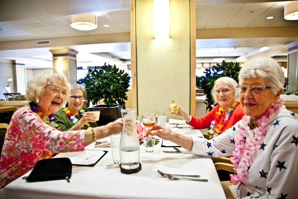 Ladies enjoying lunch together at Merrill Gardens at Bankers Hill in San Diego, California