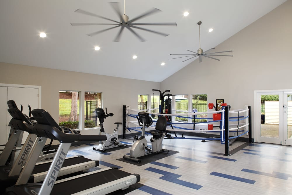 Clean, modern community gym at Park South Apartments in Seattle, Washington