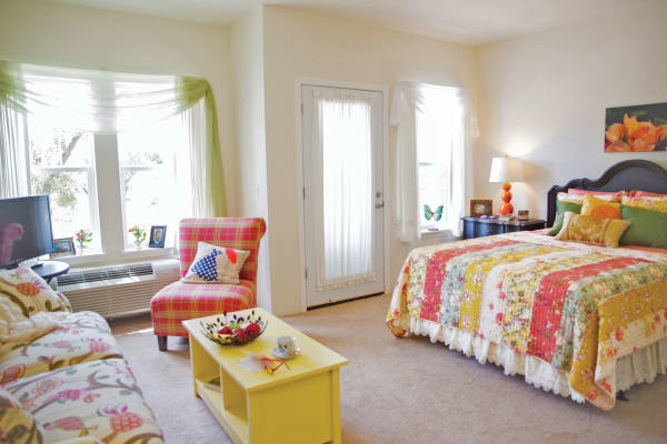 A well decorated studio apartment at Southern Pines Gracious Retirement Living in Southern Pines, North Carolina