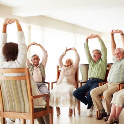 A group exercise class at Arbor Glen Senior Living in Lake Elmo, Minnesota
