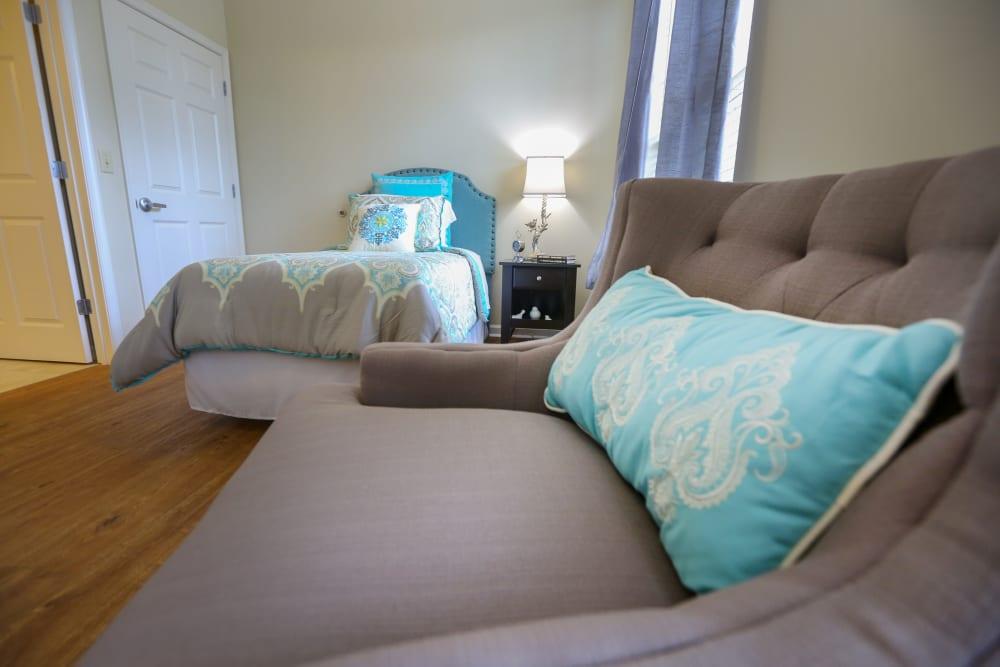 A furnished bedroom at Harmony at Brookberry Farm in Winston-Salem, North Carolina