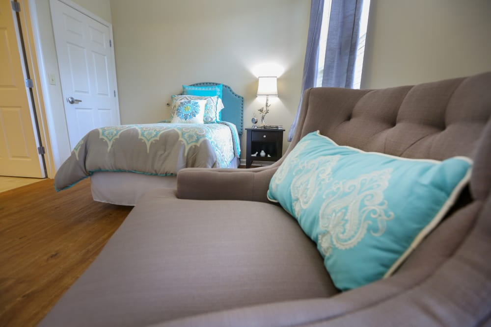A furnished bedroom at Harmony at Kent in Dover, Delaware