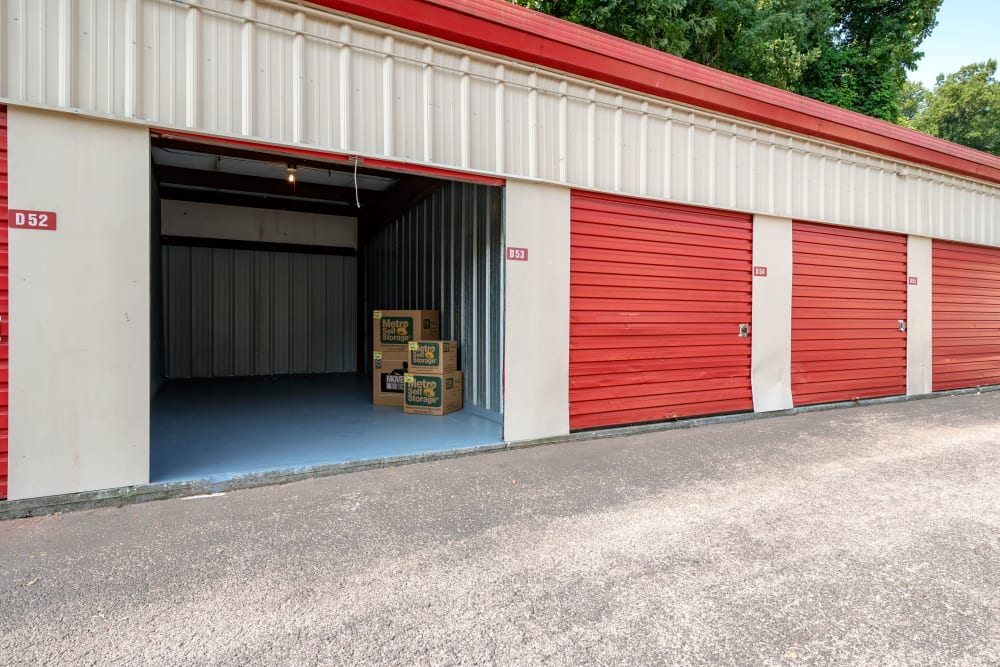 Drive up outdoor access storage units with sample boxes at Metro Self Storage in Knoxville