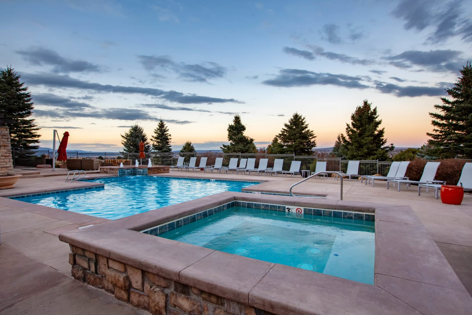 Pool views at Resort at University Park in Colorado Springs