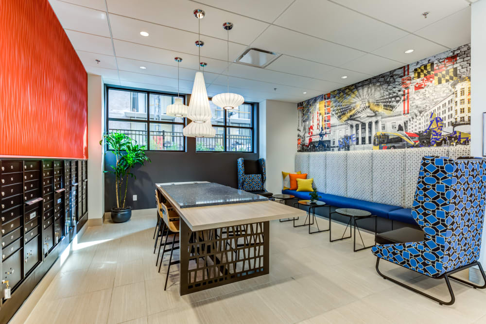 Dining clubhouse area at Main Street Apartments in Rockville, Maryland
