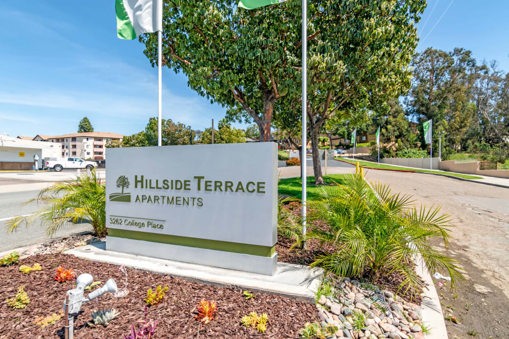 The front sign at Hillside Terrace Apartments in Lemon Grove, California