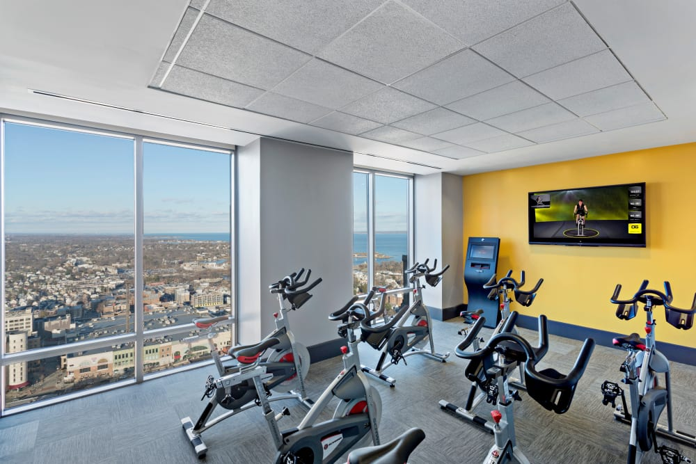 Spin and yoga room at Skyline New Rochelle in New Rochelle, New York