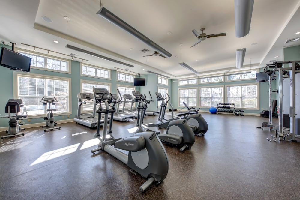 State-of-the-art gym at apartments in Canton, Massachusetts