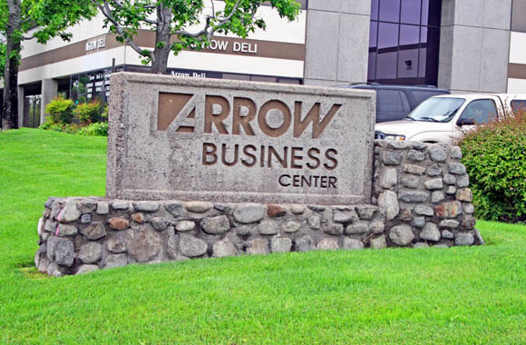 Welcome sign at Arrow Business Center in Rancho Cucamonga, California