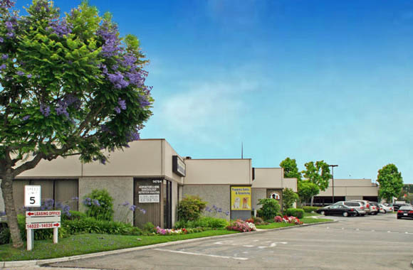 Leasing office sign at La Mirada Center in La Mirada, California