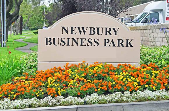 Welcome sign at Newbury Business Park in Newbury Park, California