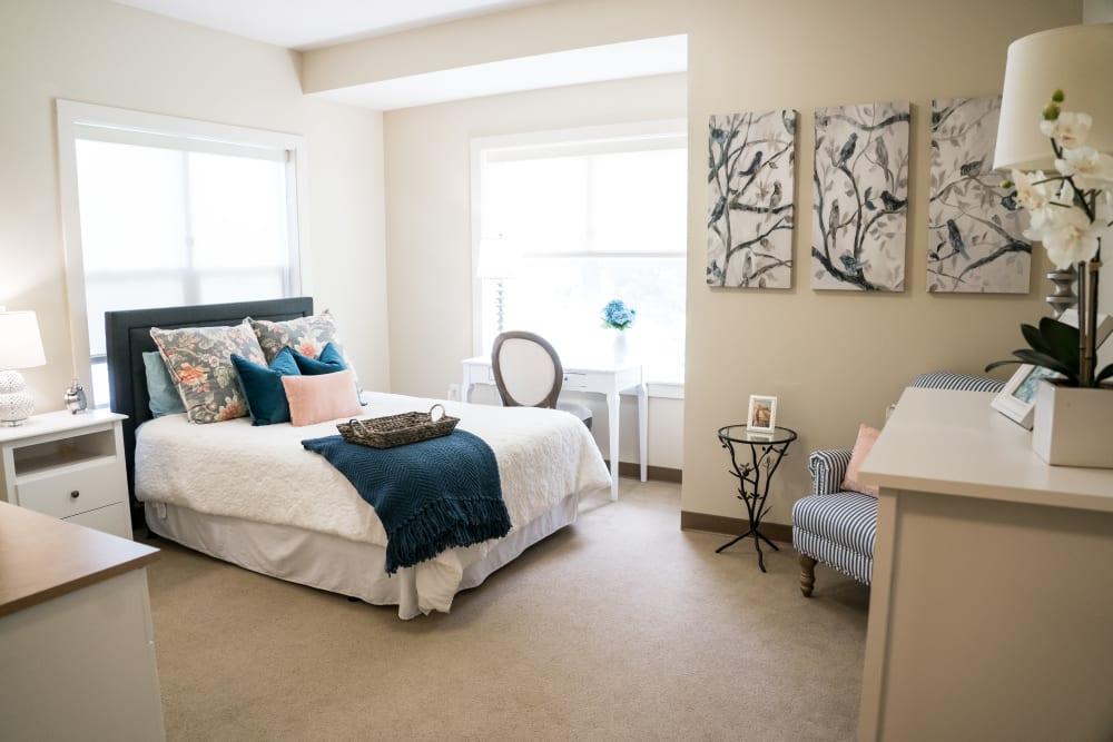 Bedroom at senior living community in Little Rock, Arkansas