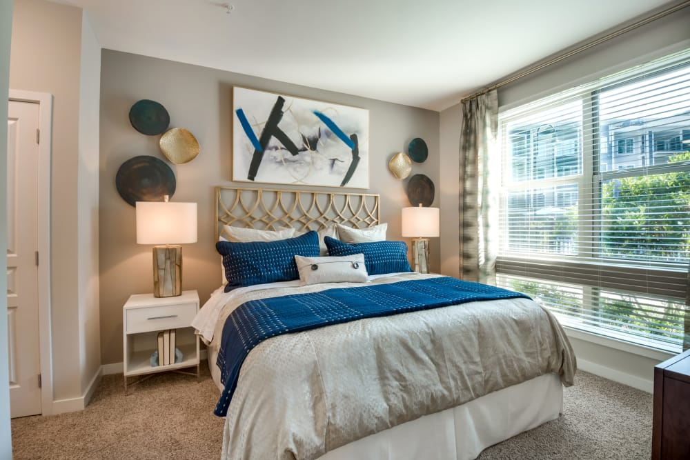 Modern bedroom at Alta at Jonquil in Smyrna, Georgia