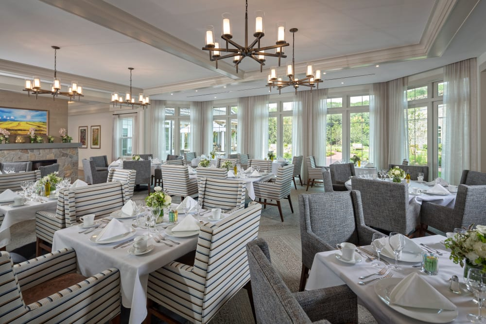 Large dining room at apartments in Southport, Connecticut