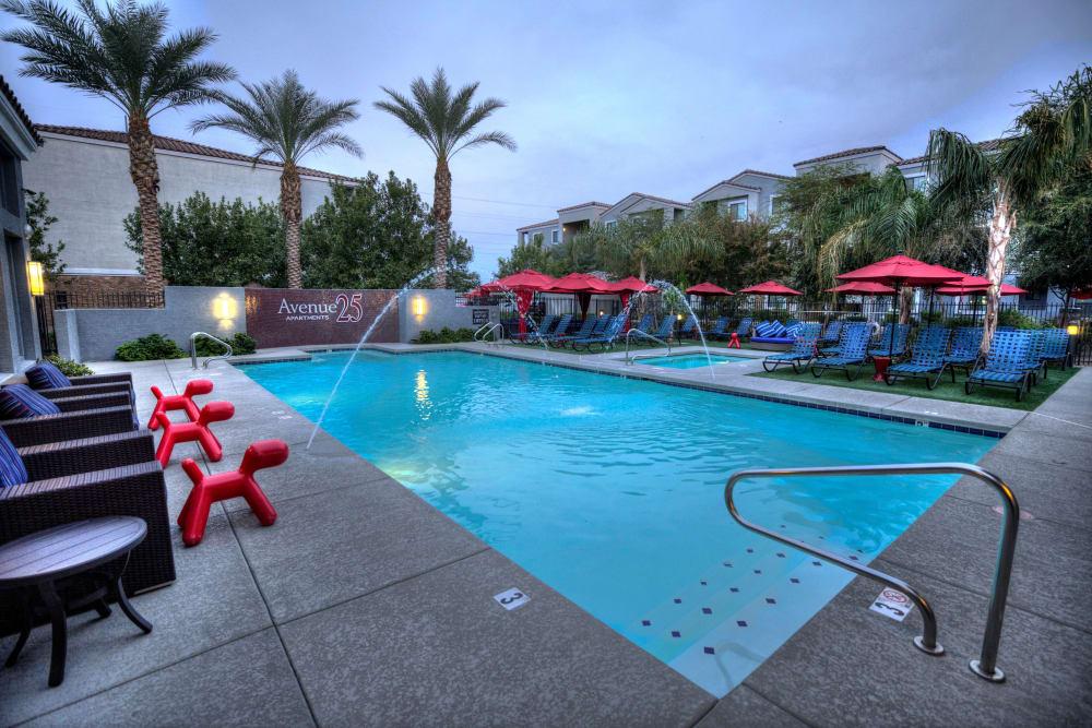 Poolside lounge area at Avenue 25 Apartments