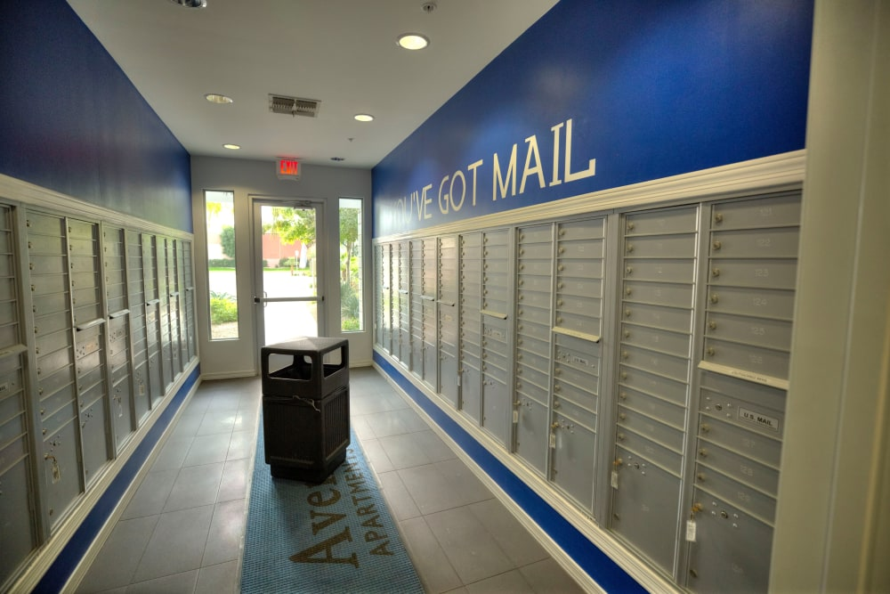Mail room at Avenue 25 Apartments