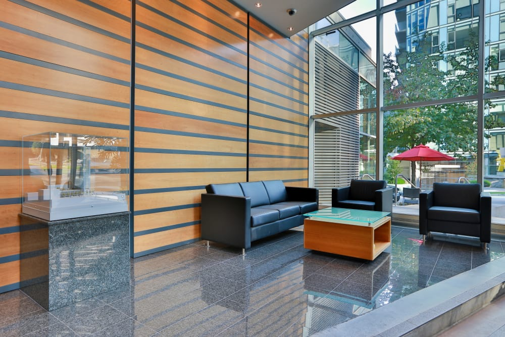 Modern reception at Bayview at Coal Harbour in Vancouver, British Columbia
