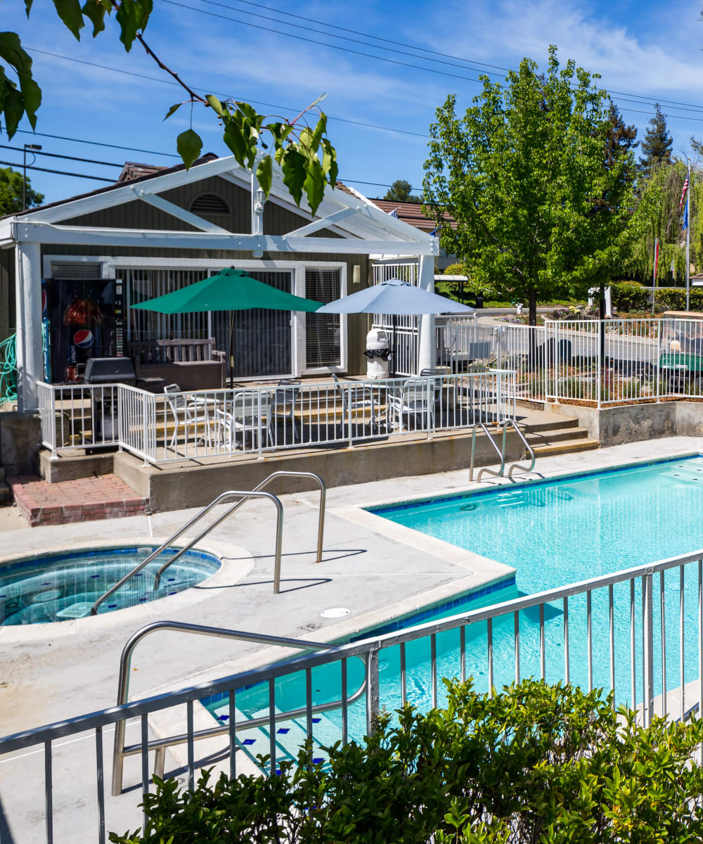 Swimming pool with a hot tub at Haven Martinez in Martinez, California