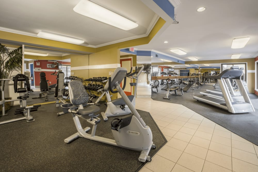 Workout machines at Saddle Creek Apartments in Novi, Michigan
