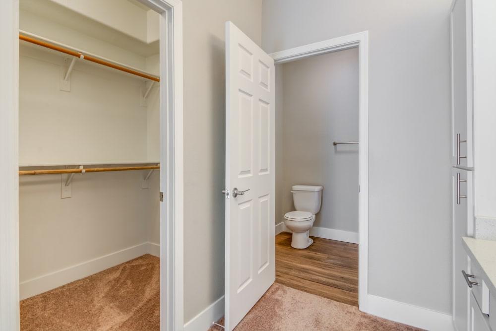 Closet and bathroom at apartments in Chandler, Arizona