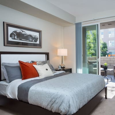 Master bedroom with back patio access at Sofi Riverview Park in San Jose, California