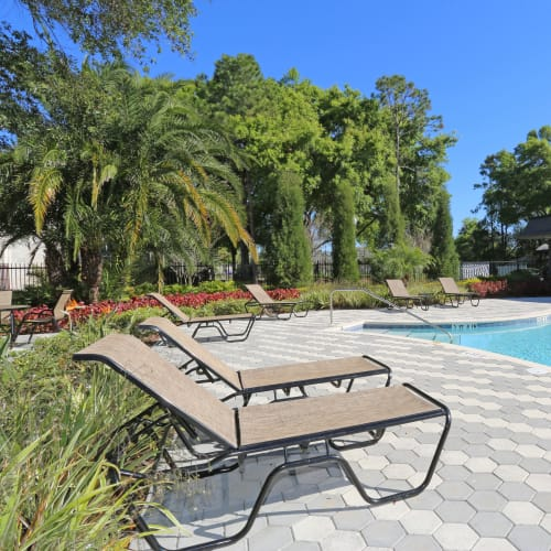 Sundeck with lounge chairs at Southern Cove Apartments in Temple Terrace, Florida