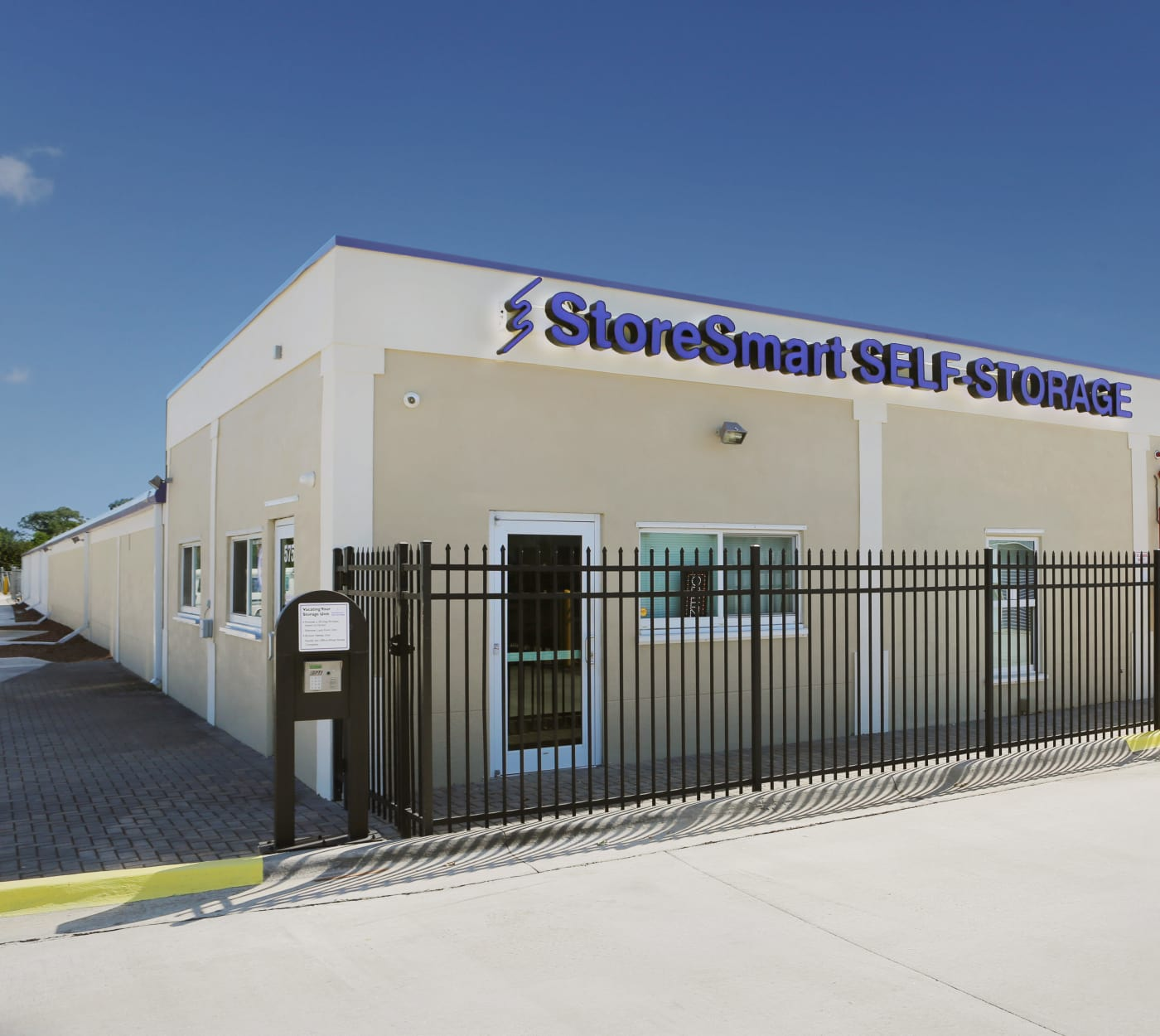 Entrance gate at StoreSmart Self-Storage in Melbourne, Florida