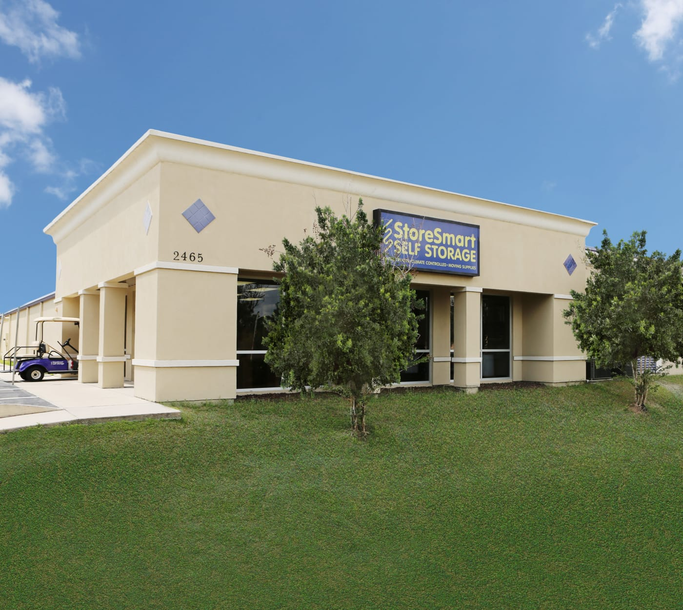 Entrance gate at StoreSmart Self-Storage in Spring Hill, Florida