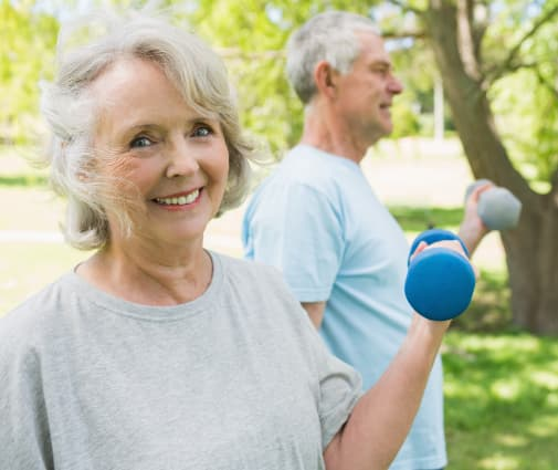 Residents exercising outdoors at The Renaissance at Coeur d'Alene in Coeur d'Alene, ID