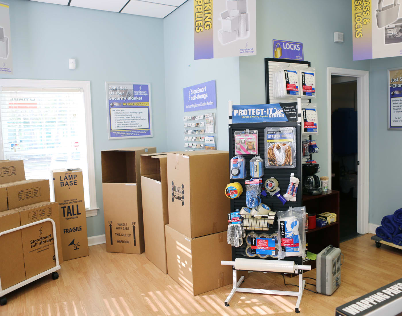 Packing and moving supplies for sale at StoreSmart Self-Storage in Wando, South Carolina
