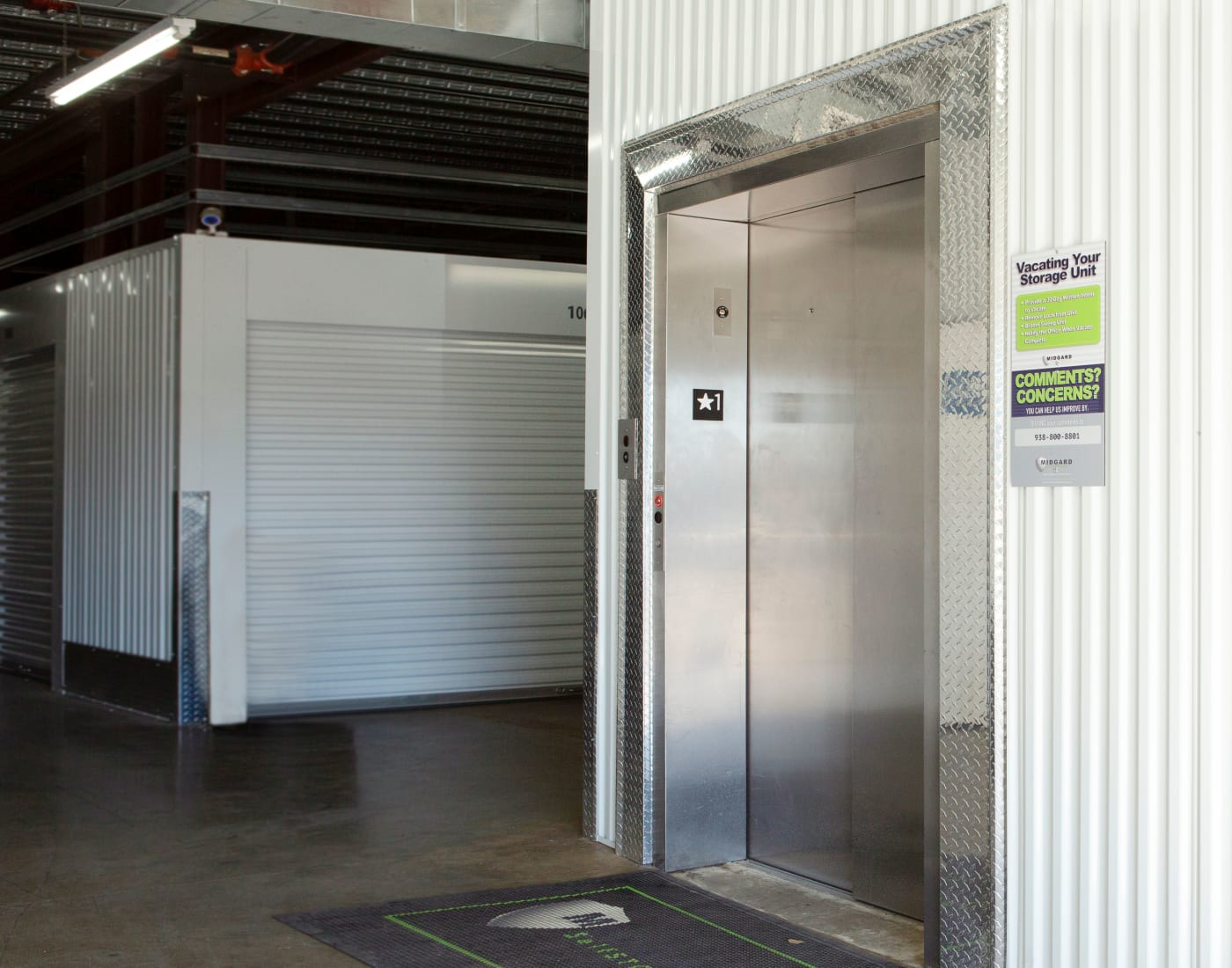 Elevator at Midgard Self Storage in Florence, Alabama
