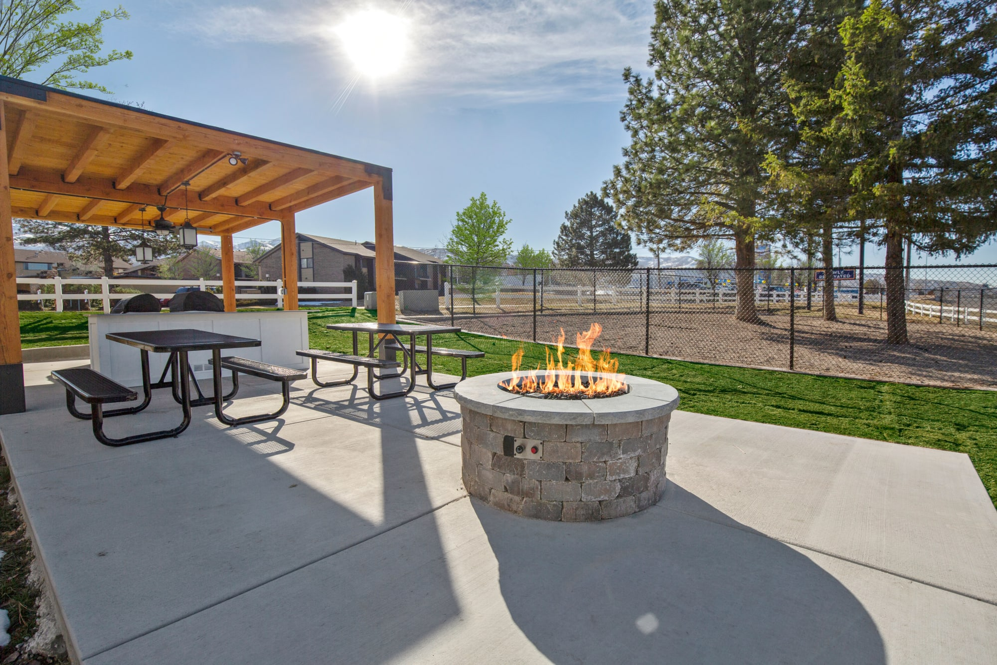 Fire pit at Windgate Apartments in Bountiful, Utah