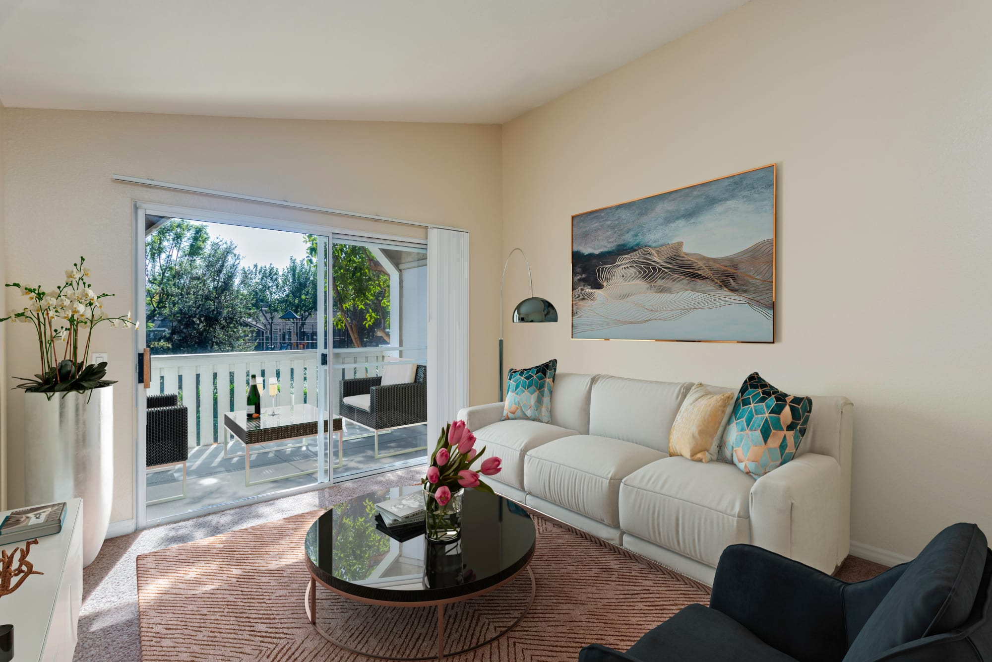 Furnished  Living Room with Sliding Door to Spacious Patio at Village Oaks in Chino Hills, California