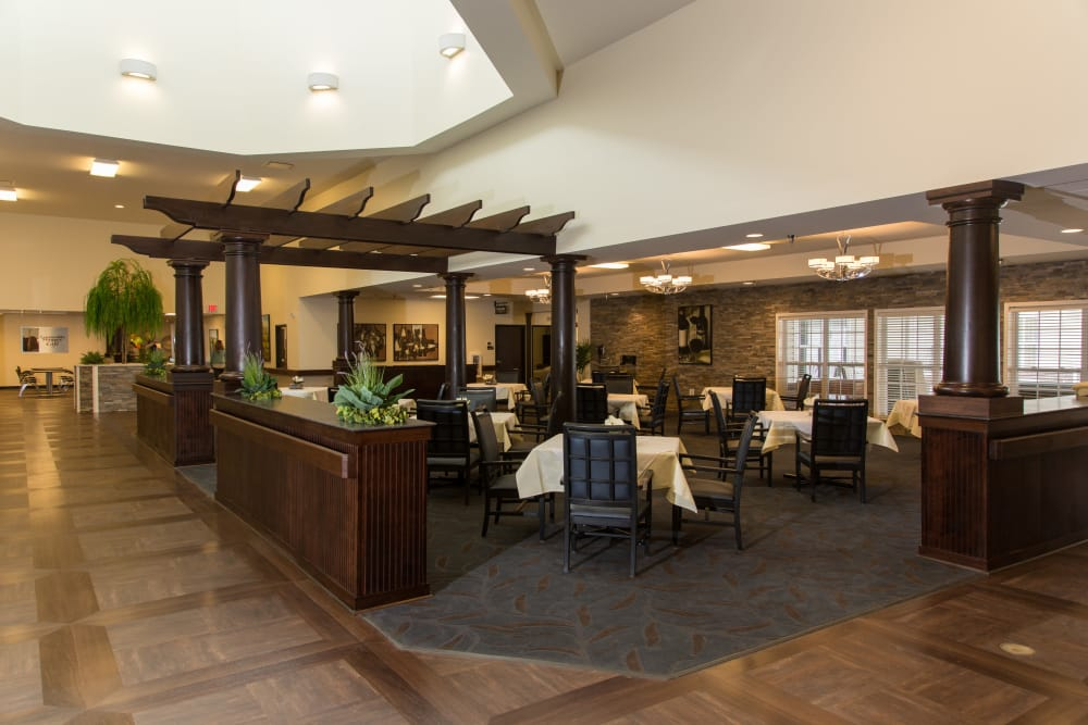 Community dining room at Novi Lakes Health Campus in Novi, Michigan