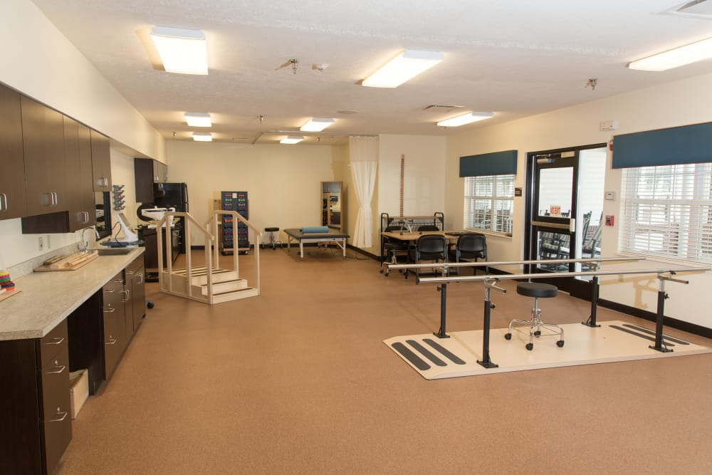 An equipped rehabilitation room at Orchard Grove Health Campus in Romeo, Michigan